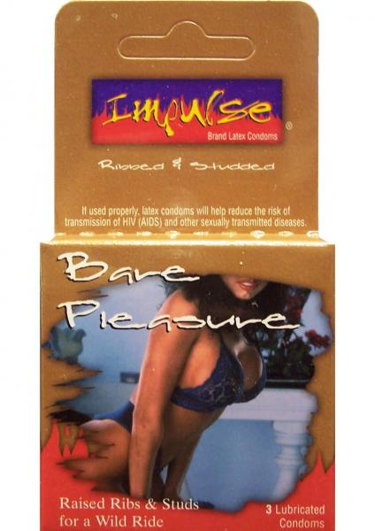 Impulse Condom Bare Pleasure Raised & Ribbed Lubricated 3 Pack