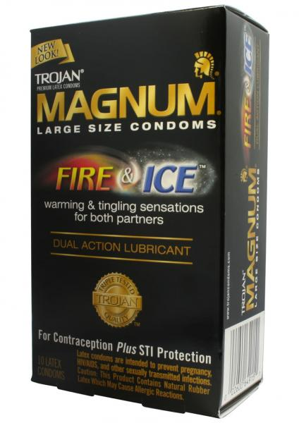 Trojan Condom Magnum Fire and Ice Dual Action Lubricant 10 Pack