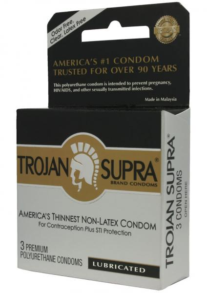 Trojan Condom Supra Microsheer Non Latex Lubricated 3 Pack