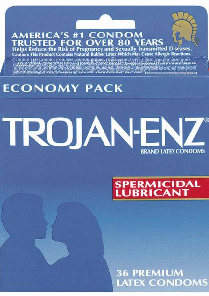 Trojan Condom Enz With Spermicidal Lubricant 36 Pack