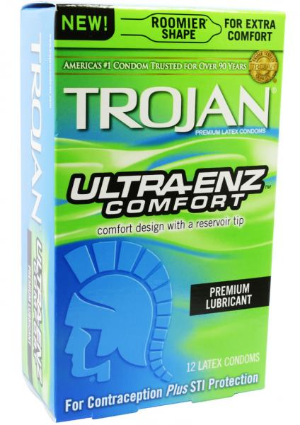 Trojan Ultra Enz Comfort Latex Condoms 12 Per Box