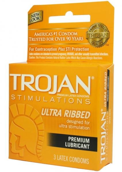 Trojan Ultra Ribbed Lubricated Condoms 3 Pack