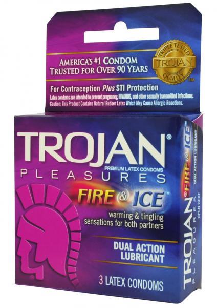 Trojan Condom Pleasures Fire & Ice Dual Action Lubricant 3 Pack