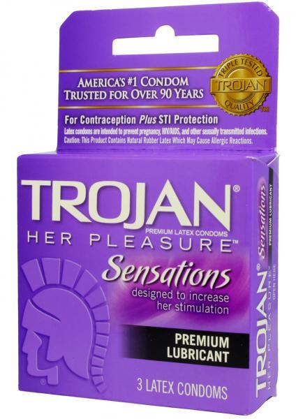 Trojan Her Pleasure Sensations Condom Lubricated 3 Pack