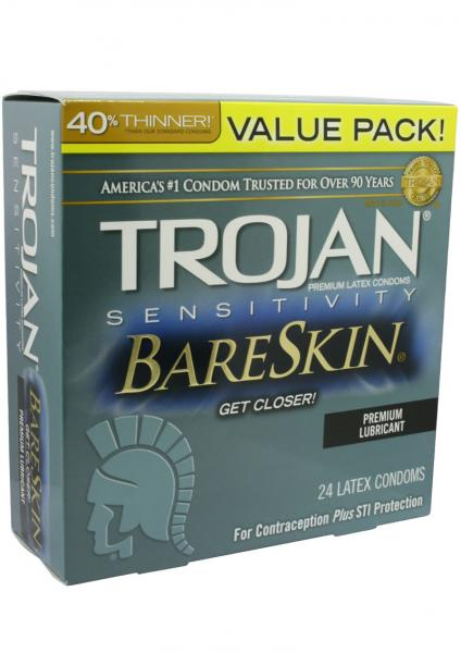 Trojan Sensitivity Bareskin Latex Condoms 24 Per Box