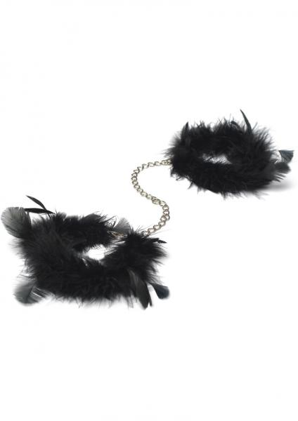 Za Za Zu Feather Handcuffs Black