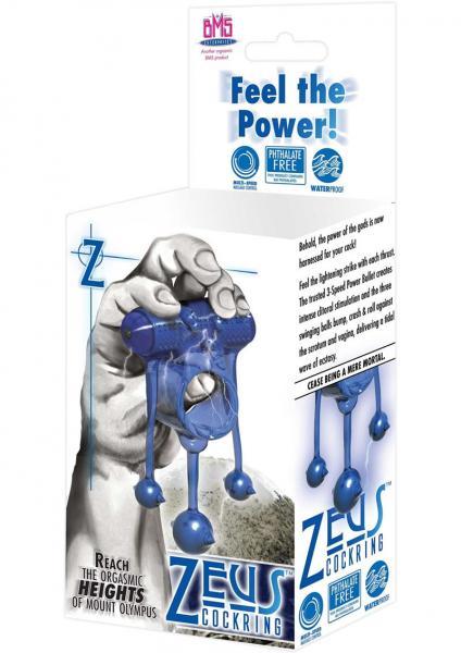 Zeus Vibrating Cockring Waterproof Blue
