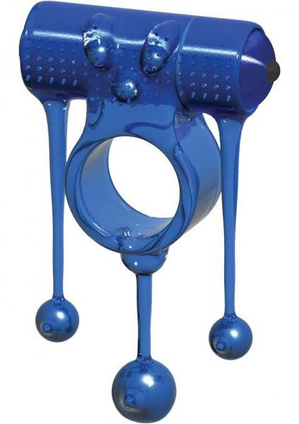 Zeus Vibrating Cockring Waterproof Blue