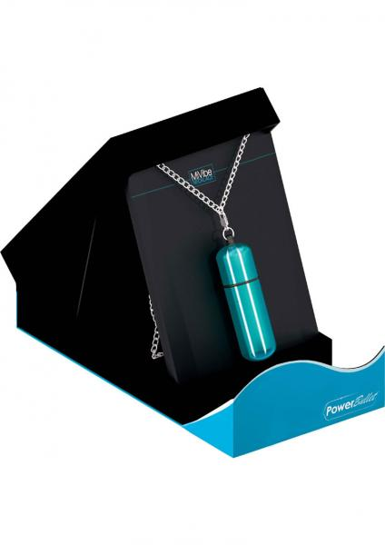 Power Bullet Mini Vibe Necklace With Chain Waterproof Teal
