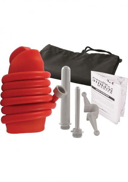 Streem Master The Ultimate Anal Douche Kit Silicone Red