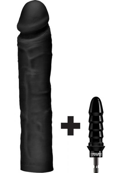 Drilldo Dildo 10 inches Dildo with Drilldo Bit Black