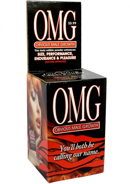 OMG Obvious Male Growth Edible Powder Enhancer Counter Display 24 Packs Per Display