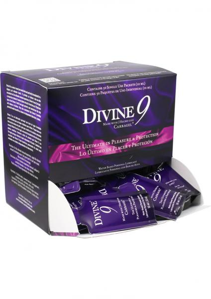 Divine 9 Water Based Lubricant Counter Display 50 Packets Per Display