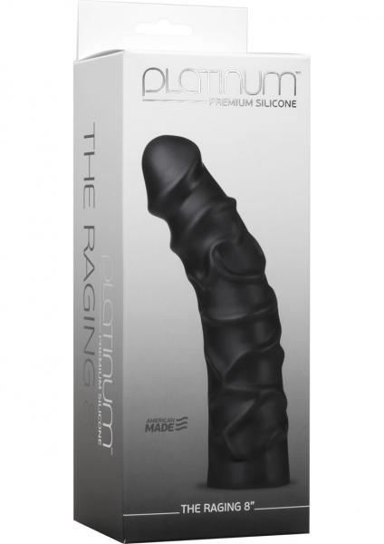 Platinum Premium Silicone The Raging Dildo Black 8 Inches