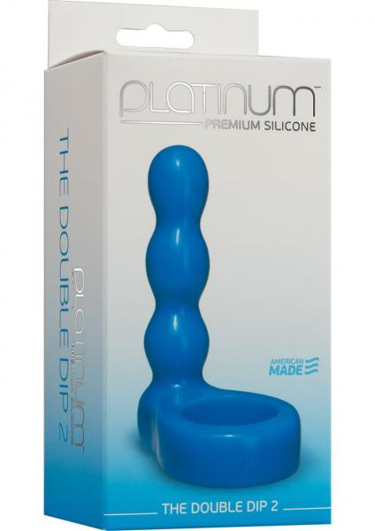 The Double Dip 2 Silicone Dual Penetration C Ring Blue