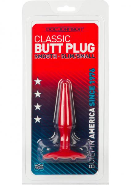 Smooth Butt Plug Slim Small Sil A Gel 4 Inch Red