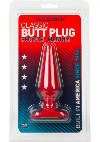 Smooth Butt Plug Silagel Medium Red