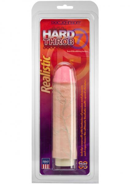 Hard Throb Realistic Vibrator With Sleeve 7 Inches Beige