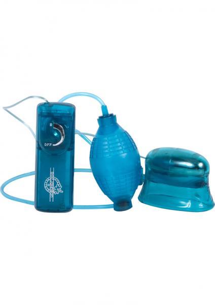 Pucker Up Vibrating Clitoral And Vaginal Pump Blue