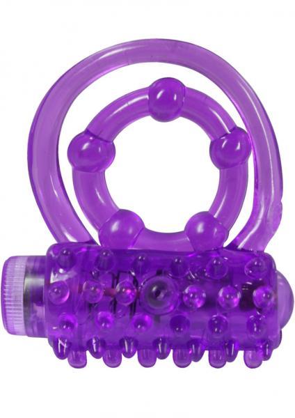 Weenie Wrapper Dual Cock Ring With Bullet Waterproof Purple