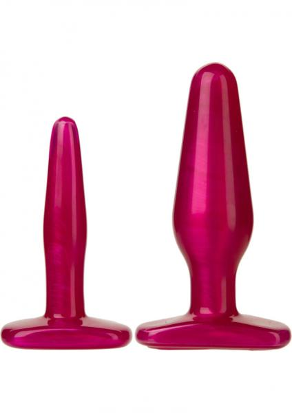 Radiant Gems Anal Trainer Butt Plug Kit Fuchsia 2 Sizes