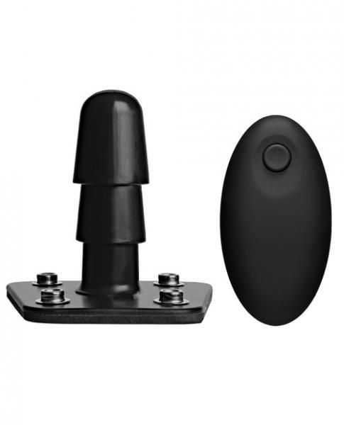Vac-U-Lock Vibrating Plug with Snaps Remote Black
