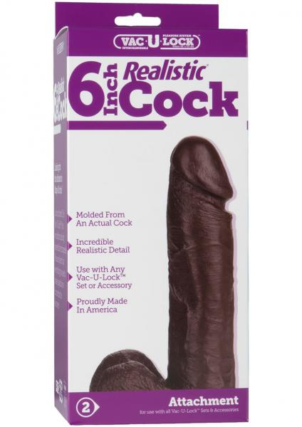 "Vac-U-Lock 6"" Realistic Dildo -  Brown"