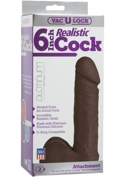 "Vac U Lock Platinum Realistic Dildo Attachment Silicone 6"""