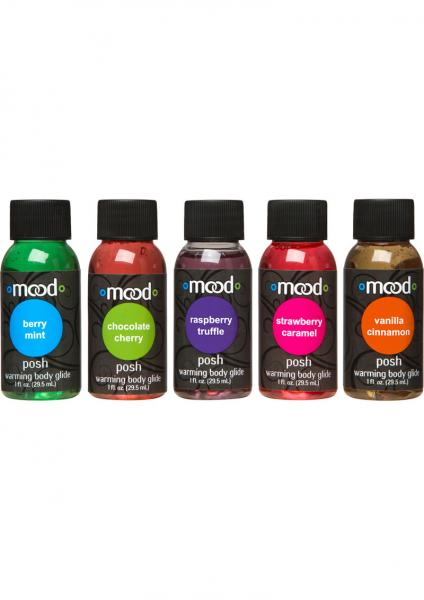 Mood Posh Warming Body Glides Assorted Flavors 1 Ounce 5 Each Per Pack