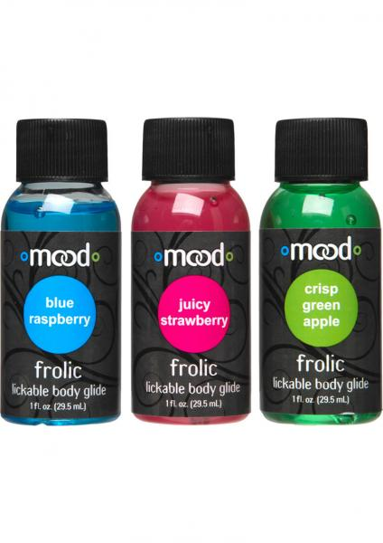 Mood Frolic Lickable Body Glides Waterbased Assorted Flavors 1 Ounce 3 Each Per Pack