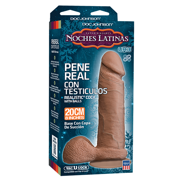 Noches Latinas Pene Real Con Testiculos Brown Dildo