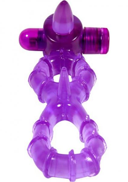 Buzz Buddies Excitement Ring Double Cock Ring Waterproof Purple
