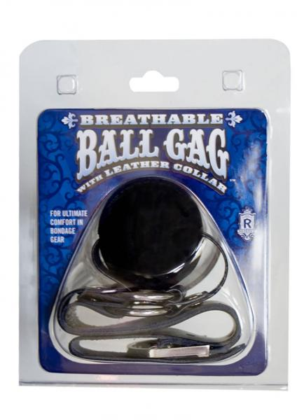 Breathable Ball Gag With Leather Collar Black