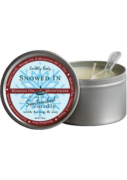 3 In 1 Suntouched Round Massage Oil Candle Snowed In 6.8 Ounce