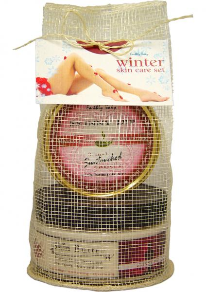 Winter Skin Care Set With Skin Butter And 3 In 1 Suntouched Round Massage Oil Candle Skinny Dip