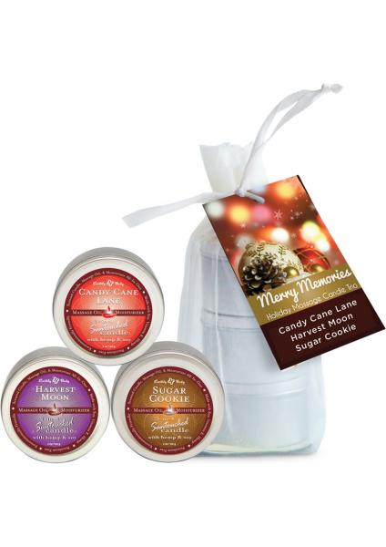 Merry Memories Holiday Massage Candle Trio Gift Bag 3 Each 2 Ounce Tins
