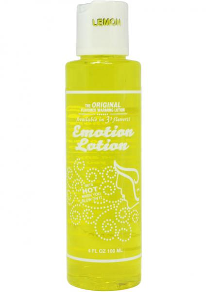 Emotion Lotion Flavored Water Based Warming Lotion Lemon 4 Ounce