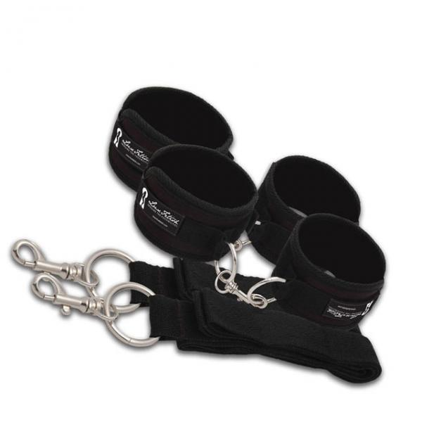 Lux Fetish Bed Spreader 7 Piece Restraint System Black