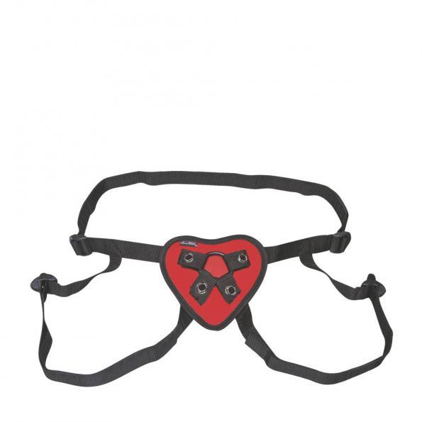 Lux Fetish Red Heart Strap On Harness O/S