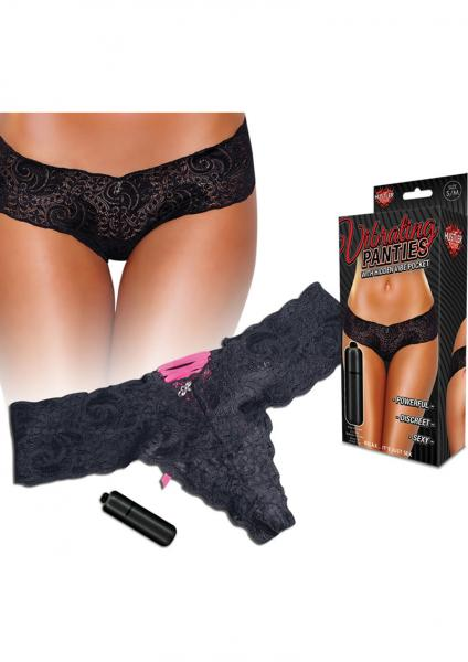 Hustler Toys Vibrating Panties Lace Up Back Thong With Hidden Vibe Pocket Black Small/Medium