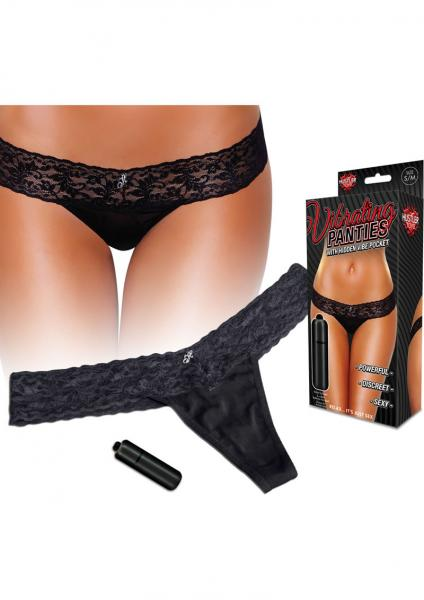 Vibrating Panties Hidden Pocket & Bullet - Black M/L