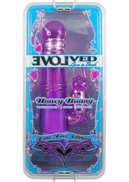 True Love Honey Bunny Rabbit Vibrator Waterproof  8.5 Inch Purple
