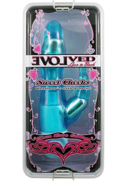 True Love Sweet Cheeks Vibrator Waterproof 8.5 Inch  Blue