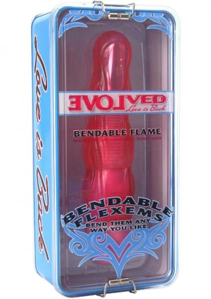 Bendable Flexems Flame Vibrator Waterproof  8.5 Inch Pink