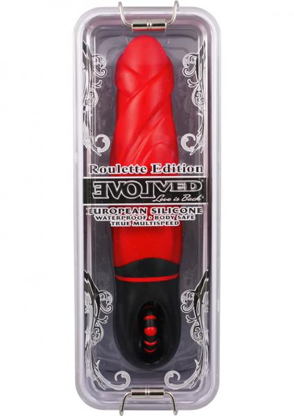 Roulette All On Red Silicone Vibrator Waterproof 7.75 Inch Red