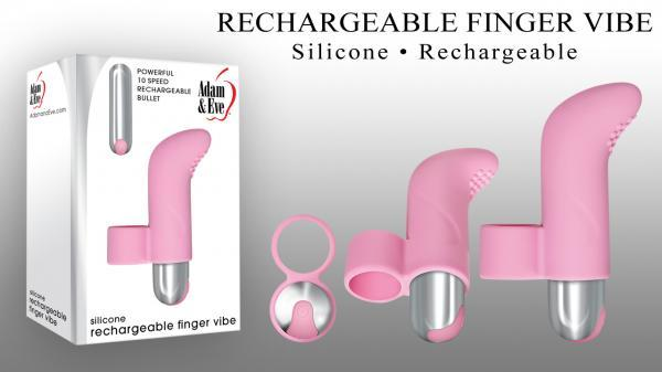 Silicone Rechargeable Finger Vibe Pink