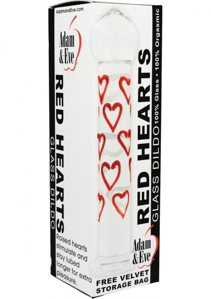 Adam & Eve Red Hearts Tempered Glass Dildo 7 Inch