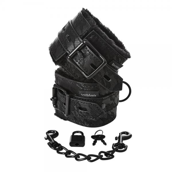 Sincerely Lace Fur Lined Handcuffs Black