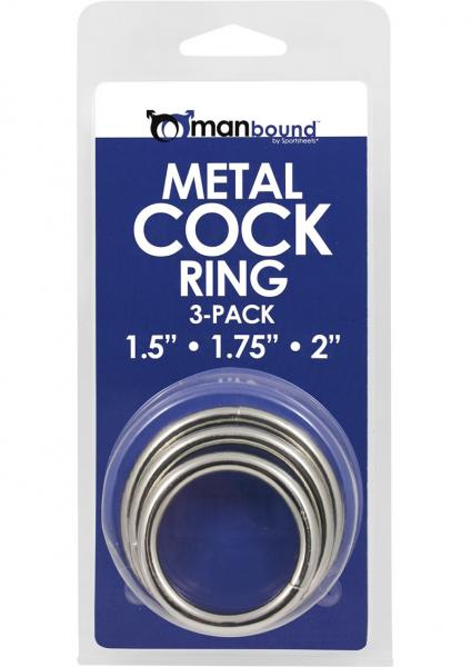 Manbound Metal Cock Ring 3 Pack - Silver
