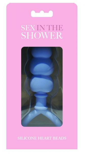 Sex In The Shower Blue Silicone Heart Anal Beads